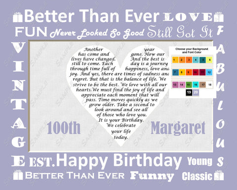 Personalized 100th Birthday Gift 100th Birthday Poem 8 X 10 Print 100th Birthday Gift Ideas