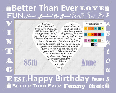 85th Birthday Gift Personalized Poem 8 X 10 Print