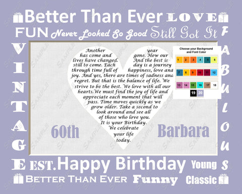 Personalized Birthday Gift Poem 8 X 10 Print - 21st, 25th, 30th, 40th, 50th, 60th, 70th, 80th, 90th, 100th