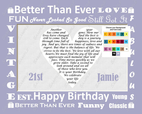 21st Birthday Gift. Poem 21st Birthday Gifts - Twenty One Birthday Gifts 8 X 10 Print - Unique Gift Ideas