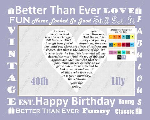 40th Birthday Love Poem 8 x 10 Print. Forty Birthday Gifts Ideas