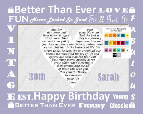Thirty Gifts. 30th Birthday Poem. 8 X 10 Print