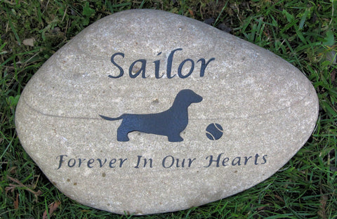 Pet Memorial Stone Dachshund & Other Dog Breeds 10-11 Inch Pet Memorial Stone Cemetery Burial Headstone Grave Marker - Pet Memorial Stones, Personalized Pet Stone Memorial Grave Marker, Dog Memorial, Cat Memorials, Pet Gravestone Markers, Headstone