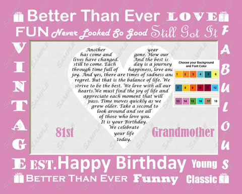 Personalized Grandma Grandmom Grandmother Grandparents Fun Birthday Gift Love Poem Heart Print 8 X 10