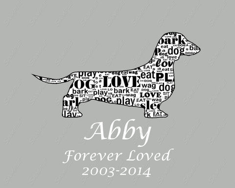 Pet Memorial Dog 8 X 10 Print. Dachshund Memorial Dog Gifts Pets