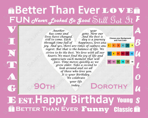 Personalized 90th Birthday Gift 90th Heart Poem Gift 8 X 10 Print Ninety Birthday Gift Ideas
