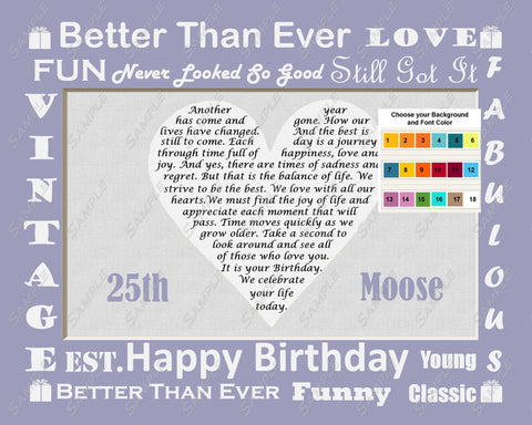 25th Birthday Gifts. Gift from Mom, Dad, Friend. 25th Birthday Poem 8 X 10 Print