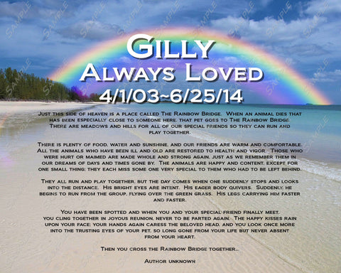 Personalized Pet Memorial Rainbow Bridge Poem 8 X 10 Print - Pet Memorials for Dog Cat or Any Pet