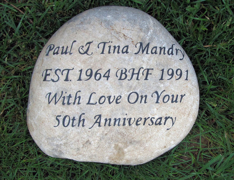 Anniversary Gifts. Engraved Stone 10th, 20th, 30th, 40th, 50th - 10-11 Inch Garden Wedding Anniversary Stone