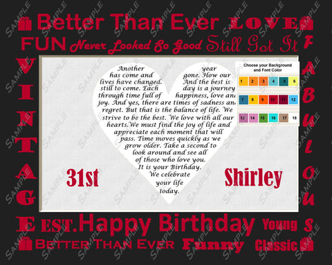 Birthday Gift Poem Heart Print 8 X 10. Any Birthday Year 25th 35th 45th 55th 65th