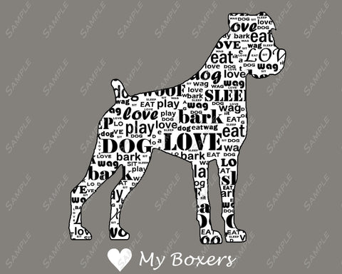 PERSONALIZED Boxer Dog Gift  Boxer Word Cloud Art 8 X 10 Print  Boxer Dog Pet Gifts