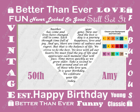 Cute 50th Birthday Gift 50th Birthday Poem Heart 8 X 10 Print Fifty Birthday Gift Ideas