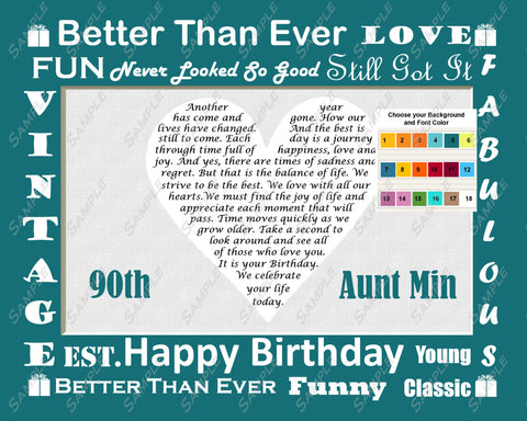 90th Birthday Gift. 90th Heart Poem Gift. Ninety 8 X 10 Print. Unique Fun Cute