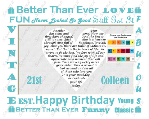 21st Birthday Gifts 8 X 10 Print - Twenty First Birthday Gift Ideas