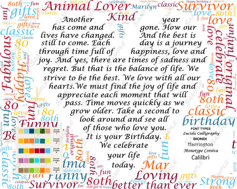 80th Birthday Love Poem 80th Birthday Gift - Word Cloud Art 8 X 10 Print Custom 80th Birthday Word Art