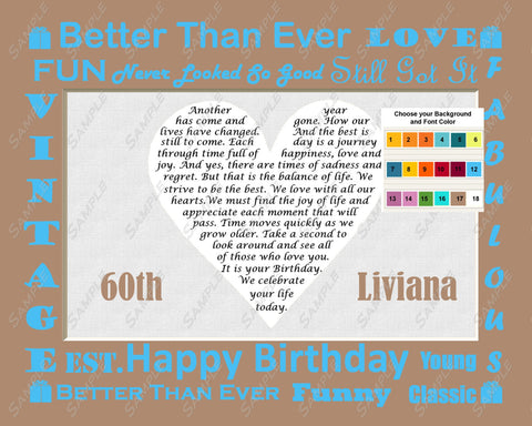 Custom 60th Birthday Gift Love Poem 60th Birthday Heart Print 8 X 10 Sixty Birthday Gifts -DesignbyWord.Com