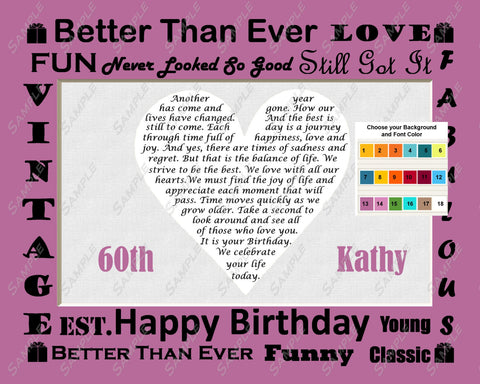 Personalized 60th Birthday Gift Love Poem 60th Birthday Heart Print 8 X 10 - Sixty Birthday Gift Ideas
