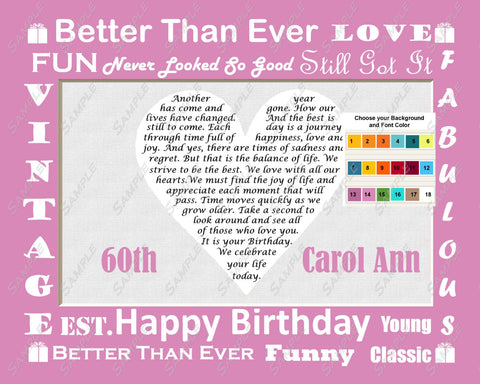60th Personalized Birthday Gift Poem -  Sixty Birthday Heart Print 8 X 10 - 60 Biirthday Gift Ideas