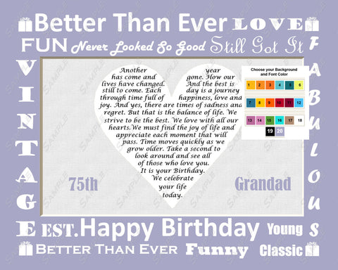Gift for Grandad, Grandfather. Birthday Gift Personalized Poem 8 X 10 Print