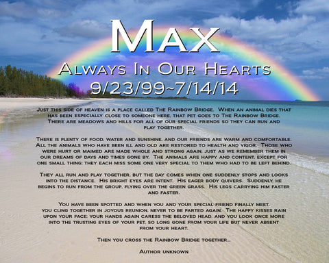 Pet Memorial Personalized for Pet Dog or Cat. Rainbow Bridge Poem Memorials 8 X 10 Print