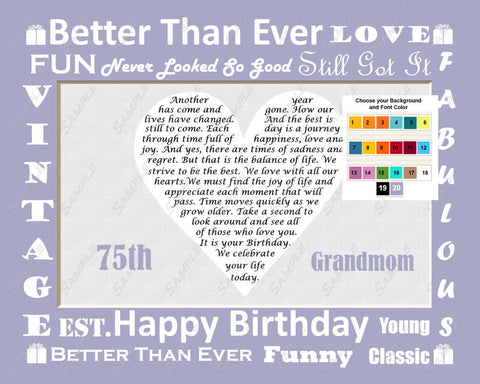Gift for Grandmom, Grandma. Grandmother Birthday Gift Personalized Love Poem 8 X 10 Print