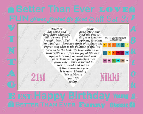 21st Birthday Gifts, Birthday Poem 8 X 10 Print