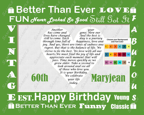 60th Birthday Gift Poem Heart Personalized 60th Birthday Print 8 X 10 - Sixty Birthday Gifts -DesignbyWord.Com