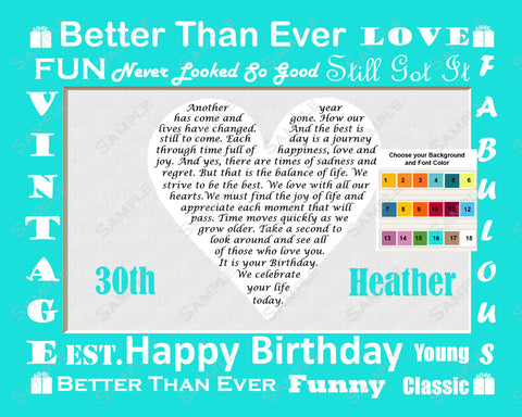 30th Birthday Gift Love Poem 8 x 10 Print