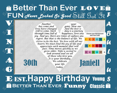 Personalized 30th Birthday Poem 30th Birthday Heart Gift Print 8 X 10 30th Birthday Gift Ideas
