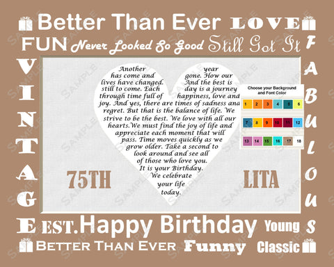 Personalized 75th Birthday Poem Gift Heart Print 8 X 10