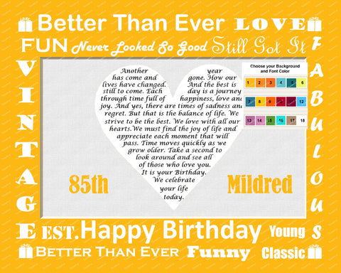 Unique 85th Birthday Gift Poem Heart Print 8 X 10 Assorted Colors 90th 80th 70th Any Year