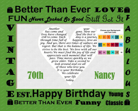 Personalized 70th Birthday Gift 70th Birthday Poem Heart Print 8 X 10 Assorted Colors 30th 40th 50th Any Year
