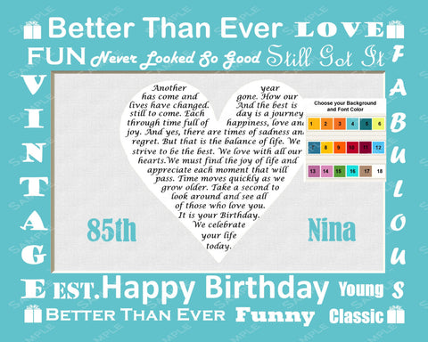 Birthday Gift Poem Print 8 X 10. Assorted Colors 85th, 60th, 70th, 80th Any Year