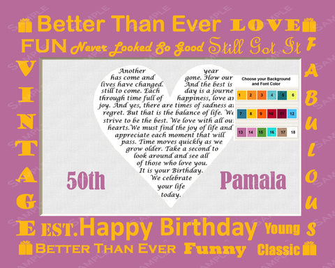 Personalized 50th Birthday Gift 50th Birthday Love Poem Heart Print 8 X 10 50th Birthday Gift Ideas