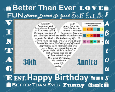 30th Birthday Poem. 8 X 10 Print - Thirty Birthday Gift Ideas