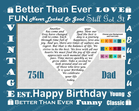 Personalized 75th Birthday Gift 75th Birthday Love Poem Print 8 X 10 - 75th Birthday Gift Ideas