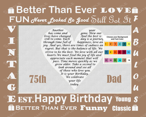 75th Birthday Gift. 75th Birthday Love Poem for Dad Father Print 8 X 10