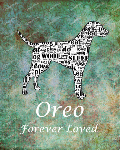 Personalized Pet Memorial Labrador Dog Memorials Labrador Retriever Memorial Word Art 8 X 10 Print