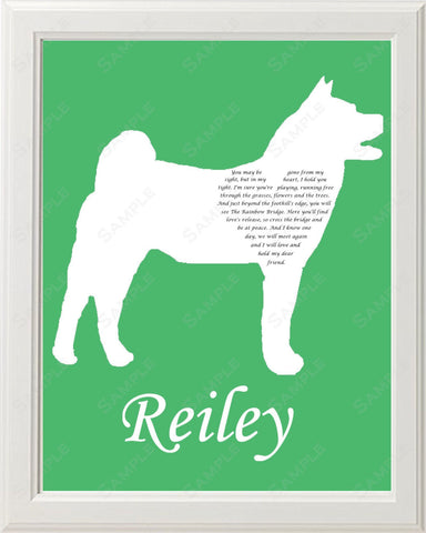 Personalized Akita Dog Akita Silhouette Pet Memorial Love Poem Gift 8 X 10 Akita Dog Print