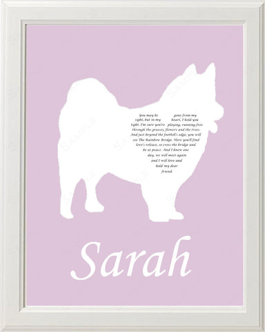 Personalized American Eskimo Dog American Eskimo Silhouette Pet Memorial Love Poem Gift 8 X 10 Eskie Dog Print