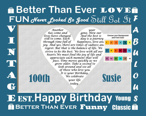 100th Birthday Gift. Love Poem Heart Print 8 X 10. One Hundred Birthday Gift Ideas