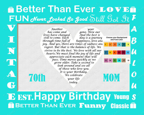 Personalized 70th Birthday Gift Poem Heart 8 X 10 Print Seventy