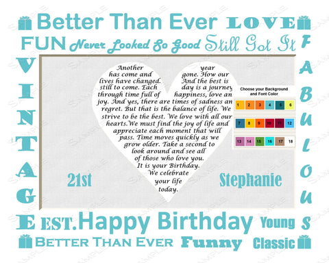 21st Birthday Gifts. Personalized Print 8 X 10 21 Birthday Gift Ideas