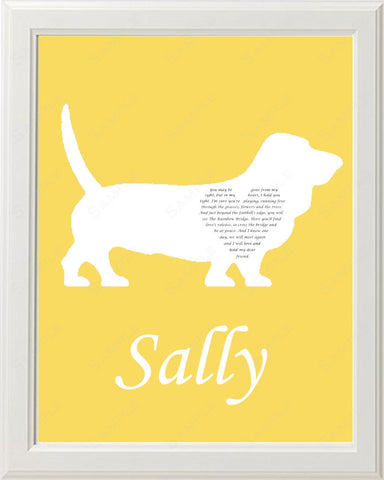 Personalized Basset Hound Dog Silhouette Pet Memorial Love Poem Gift 8 X 10 Dog Print