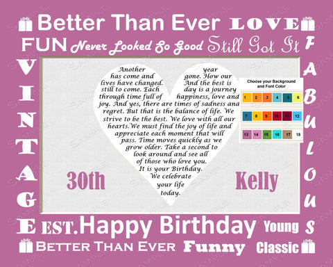 30th Birthday Gifts. 30th Birthday Love Poem Heart Print 8 X 10. Thirty Birthday Gift Ideas
