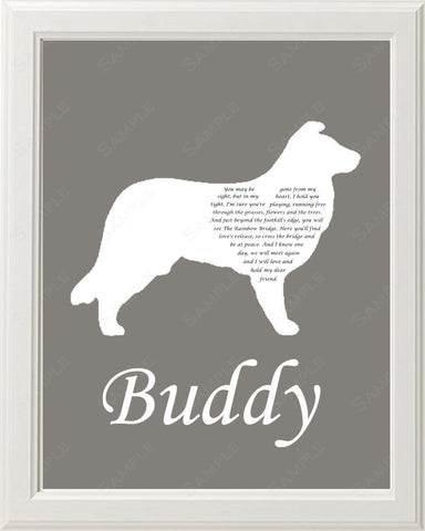 Personalized Border Collie Silhouette Border Collie Pet Memorial Love Poem Gift 8 X 10 Print Border Collie Dog