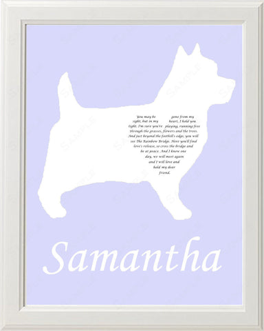 Personalized Cairn Terrier Silhouette Cairn Terrier Pet Memorial Love Poem Gift 8 X 10 Print Cairn Terrier Dog