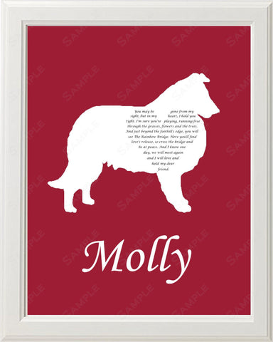 Personalized Collie Silhouette Collie Pet Memorial Love Poem Gift 8 X 10 Collie Dog Print