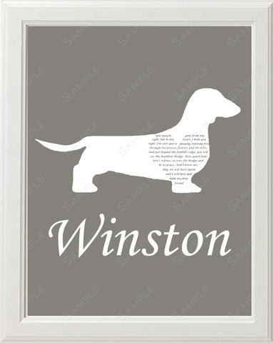 Personalized Dachshund Silhouette Pet Memorial Love Poem Gift 8 X 10 Dog Print