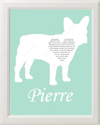 Personalized French Bulldog Silhouette French Bulldog Pet Memorial Love Poem Gift 8 X 10 Print French Bulldog Dog Memorial
